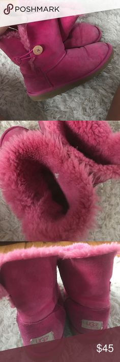 hawaiian punch uggs hot pink uggs, in pretty good condition, i didn't really take care of them, i never cleaned them or anything which is why they look all brown... they do have cleaner tho or you can do it yourself, they are adorable UGG Shoes Winter & Rain Boots