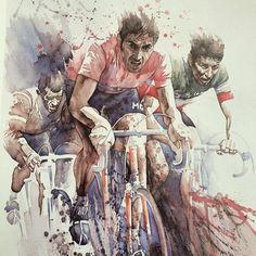 rainorshinecycles: '86 #painting by Claude Le Boul #merckx #eddymerckx #merckxmondays #cycling