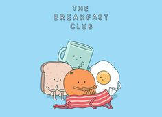 The Breakfast Club T-Shirt was designed by Jaco Haasbroek. It's a parody of the Breakfast Club poster with a fried breakfast as stand ins for the actors Cute Puns, Funny Puns, Hilarious, Food Puns, Food Humor, Food Cartoon, Cute Cartoon, Funny Illustration, Food Illustrations