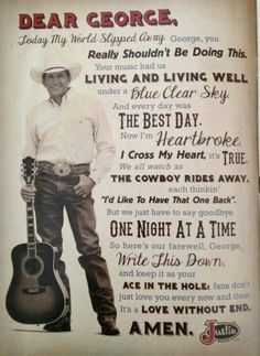 George Strait song titles letter from Justin Boots