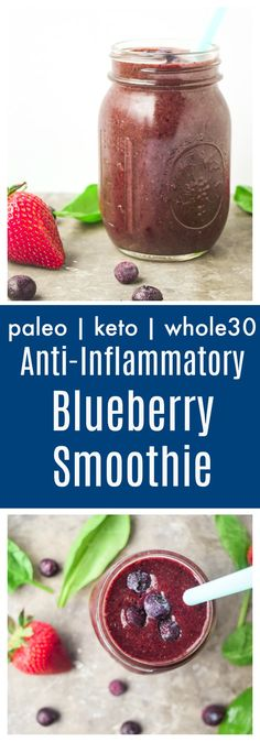 Anti-Inflammatory Blueberry Smoothie (Paleo Keto) - packed with anti-inflammatory ingredients, this drink is a refreshing powerhouse and a great way to start your day! Fruit Smoothies, Healthy Smoothies, Healthy Blueberry Smoothie, Whole 30 Smoothies, Breakfast Smoothies, Healthy Eats, Healthy Snacks, Breakfast Recipes, Anti Inflamatory Smoothie