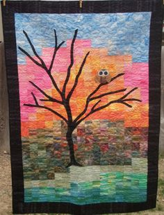 Whimsical Owl at Dawn Patchwork Quilt for Baby by MooseCarolQuilts, $370.00