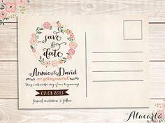 Custom Printable SAVE THE DATE Vintage Postcard Invitation