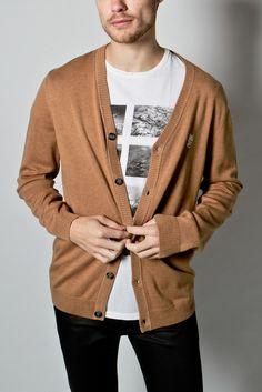 wesc - men's borik knitted cardigan (light brown melange)