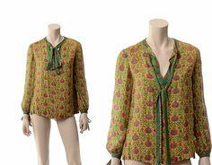 Vintage Treacy Lowe India Silk Top 70s 1970s by CkshopperVintage