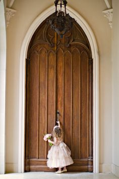 50 Ideas For Wedding Vows To Husband With Kids Flower Girls Flower Girls, Flower Girl Dresses, Big Doors, Arched Doors, Front Doors, Floral Event Design, Jolie Photo, Here Comes The Bride, Wedding Pictures