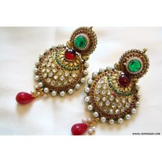 Polki Earrings Maroon & Green Rajasthani - Kundan Polki Jewellery - Earrings by Store Utsav