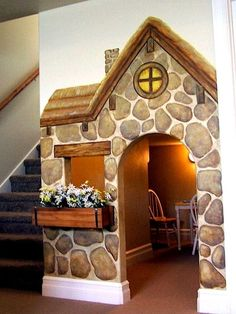 Interior , Maximizing Space Under Stairs Into Multifunctional And Catchy  Spot : Playhouse For Kids Under