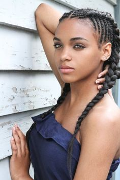 Cornrows and braid pony.