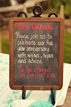 Time Capsule.  Please join us to celebrate our five year anniversary with wishes, hopes and advice. To be opened April 16, 2016