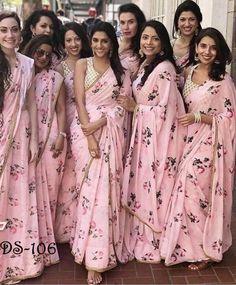 Weddings Discover Bridesmaid saree - Sari for a team of bridesmaids Indian women sari saree blouse floral print sari Saree Floral Lace Saree Saree Dress Floral Blouse Saree Blouse Balochi Dress Satin Saree White Saree Blouse Neck Indian Bridesmaid Dresses, Bridesmaid Saree, Bridesmaid Outfit, Indian Dresses, Bridesmaid Ideas, Indian Wedding Bridesmaids, Bridesmaid Proposal, Indian Weddings, Pakistani Dresses