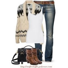 Sweater Cardigan, Bootcut jeans & Dark brown boots