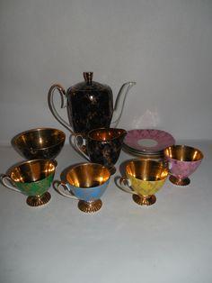 VBintage mid century Tea pot set vintage Cmielow Chodziez Polish porcelain demitasse polychrome  tea service set 11 pieces European china by artiques71 on Etsy https://www.etsy.com/listing/248607804/vbintage-mid-century-tea-pot-set-vintage