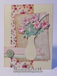 Handmade card, Impression Obsession, Flowers Rose Stem, Impression Obsession, Wink Of Stella, Happy Flowers, Small Rose, Simon Says Stamp, Distress Ink, Stencils, Vase