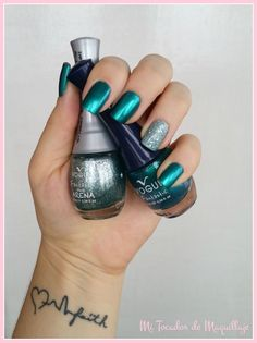 57 - Turquesa y en el dedo anular el 121 - Aguamarina Nail Blog, Glitter, Swatch, Gemstone Rings, Vogue, Nail Art, Gemstones, Nails, Beauty