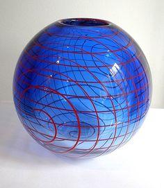 Vase - Czeck Art Glass- blue glass