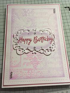 Docrafts A5 floral collage stamp, Marie-Ann Die, versa colour inks