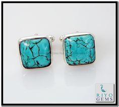 Turquoise Silver Cufflink Riyo Gems www.riyogems.com