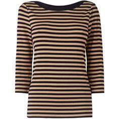 Jaeger Breton Stripe Button Jersey Top, Camel ($115) ❤ liked on Polyvore