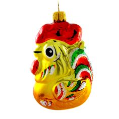 """Rooster"" Hand Painted Christmas Ornament."