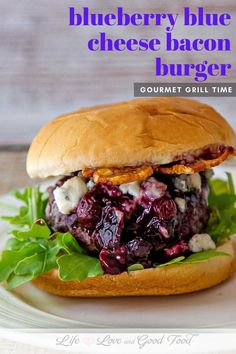 Juicy grilled hamburgers are dressed with homemade basil aioli, arugula, blueberry barbecue sauce, crispy smoked bacon, and plenty of blue cheese crumbles for just the right combination of sweet and savory in this amazing gourmet burger. Grilled Hamburgers, Grilled Burger Recipes, Grilled Turkey Burgers, Grilled Sausage, Gourmet Burgers, Grilling Recipes, Beef Burgers, Veggie Burgers, Barbecue Recipes