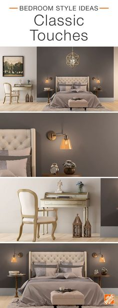 Classic touches can add subtle style to any bedroom. Here, neutral bedding helps set the tone,  while a European-inspired tufted ottoman and a French wood-accent desk elevate the space. A deep gray accent wall in BEHR Burnished Pewter allows bronze wall sconces to stand out and make a statement. Click to shop this look.