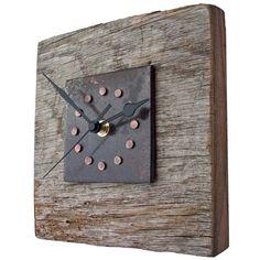Clock - Reclaimed Oak Copper Rivet and Metal Wall Clock