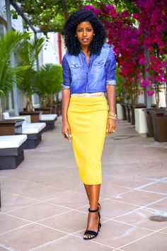bright yello pencil skirt