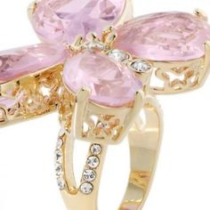 Mariah Carey Large Stone Goldtone Butterfly Ring