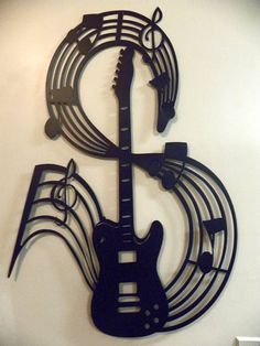 Telecaster Style Guitar With Music and Notes Large Wall Art. $99.00, via Etsy.