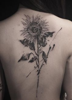 Sunflower back tattoo idea - 60+ Sunflower Tattoo Ideas
