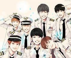 bts fanart, this is cool they are all the same style but you can tell who is who