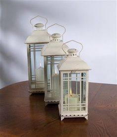 """White Lantern 14""""H (small) Metal and Glass - Melrose"""