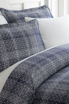 Image of iEnjoyHome Home Spun Premium Ultra Soft Polka Dot Pattern Premium Ultra Soft Duvet Cover Set - Navy