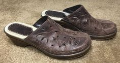 Bass Brenda Mules Leather Brown Clogs Cut Out Size US 10 M    eBay