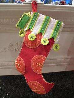 Pink Polka Dot Red Felt Christmas Stocking by AlbracaDesigns