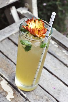 Whiskey Lemonade with Mint via A Beautiful Mess