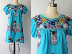 1970s Embroidered Cotton Mexican Dress