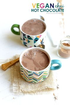 Vegan Chai Hot Chocolate- just 78 calories per serving! #healthy #recipe