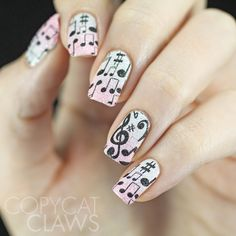 Copycat Claws: Music Stamping Over Textured Polish