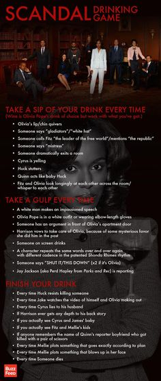Scandal Drinking Game- #scandal @Abby Webb we should play this game each episode of the new season hahaha