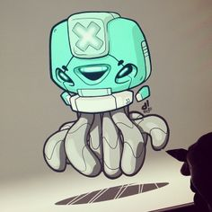 #BOTOBER 13-001 - 'Octobot' - First one down! #robotosalldaylong #creativelife - by Dacosta!