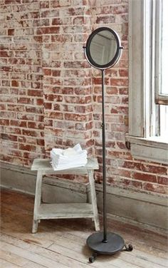 Antiqued Black Freestanding Mirror