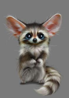 Raccoon Monster Baby Diamond Painting Quadratbohrer 20 x 30 cm / 8 x 12 Zoll Waschbär Monster Baby Diamant Malerei Cute Fantasy Creatures, Cute Creatures, Mythical Creatures, Cute Animal Drawings, Cute Drawings, Cute Animal Illustration, Cute Monsters Drawings, Drawing Sketches, Cute Baby Animals