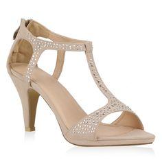 Details zu Elegante Damen Sandaletten High Heels Strass Schuhe T-Strap 72196