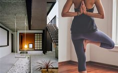 home becomes her: Lululemon athletic wear and zen spacesThis zen space is quite playful with a Japanese inspired internal rock garden and swing. Image credits: Archdaily and Lululemon pants are In The Flow Crop II Zen Space, Lululemon Pants, Group Fitness, Boyfriend Tee, Sport Wear, Athletic Wear, Flow, Ballet Skirt, Japanese