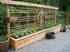 long raised garden box with trellis