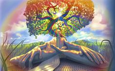 OM Gaia Tree label. I am touched by the expression of divine connection