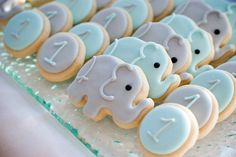 Blue & Gray Elephant Mini Sugar Cookies