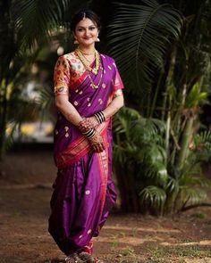 Marathi Brides Who Wore The Prettiest Plum Sarees! Marathi Bride, Marathi Wedding, Saree Wedding, Plum Wedding, Wedding Looks, Nauvari Saree, Indian Wedding Planning, Bridal Photoshoot, Saree Look